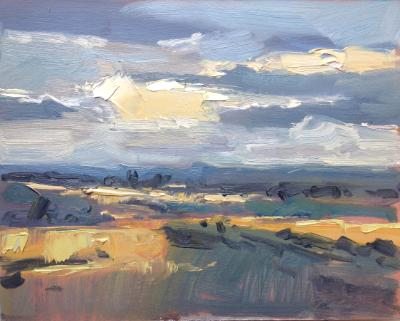 "Sunset No 8 from Blunsdon hill 10""x 8"" oil on board"