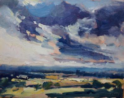 "Sunset No 4 from Blunsdon hill 10""x 8"" oil on board"