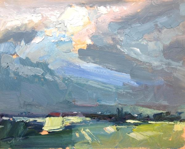 "Sunset No 6 from Blunsdon hill 10""x 8"" oil on board"