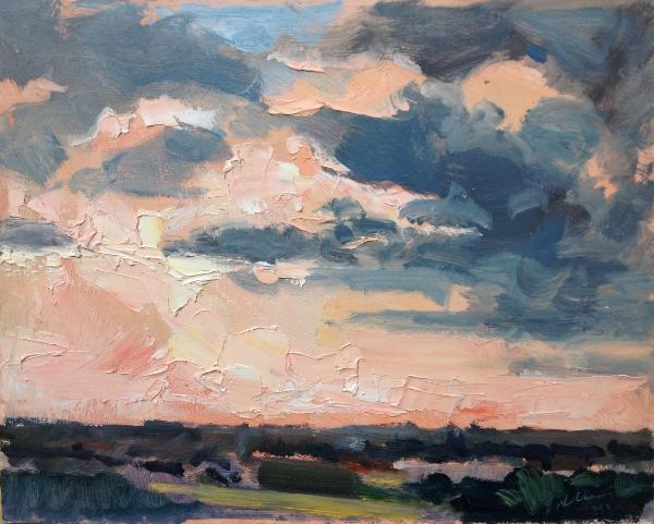 "Sunset No 5 from Blunsdon hill 10""x 8"" oil on board"