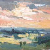 "Sunset No 1 from Blunsdon hill 10""x 8"" oil on board"