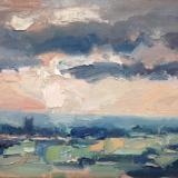 "Sunset No 2 from Blunsdon hill 10""x 8"" oil on board"