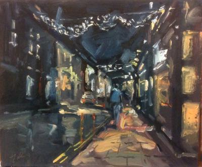 Christmas lights on wood st, Swindon Old Town