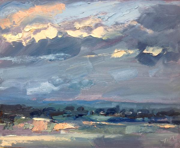 "Sunset No 3 from Blunsdon hill 10""x 8"" oil on board"