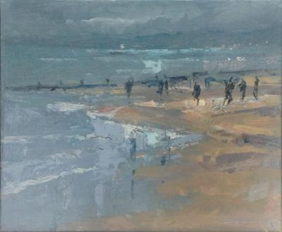 Bournemouth beach, stormy day