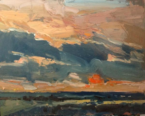 "Sunset No 7 from Blunsdon hill 10""x 8"" oil on board"