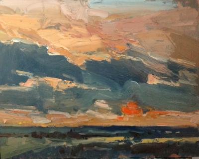 """Sunset No 7 from Blunsdon hill 10""""x 8"""" oil on board"""